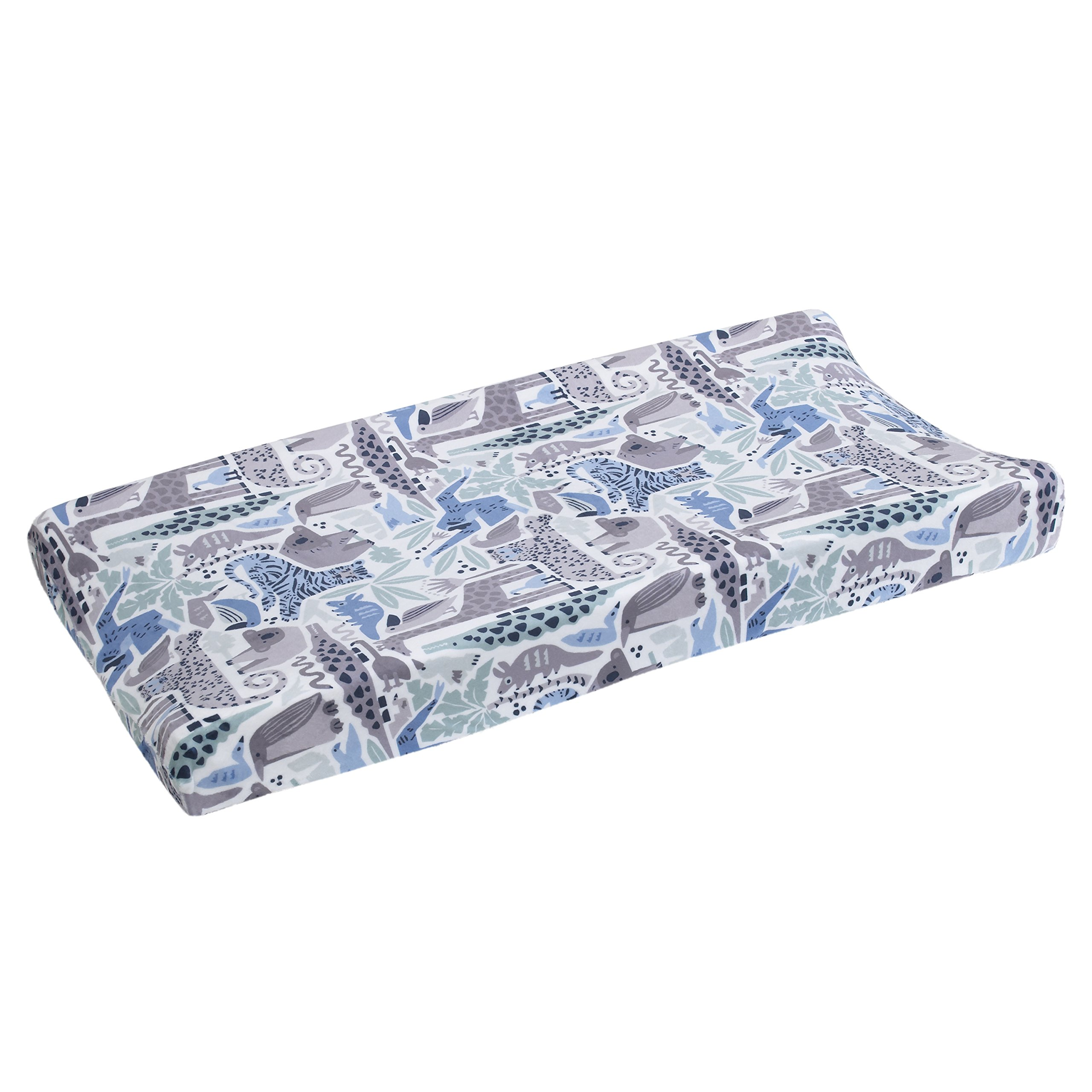Dwell Studio Safari Skies Animal/Jungle Super Soft Changing Pad Cover, Blue/Green/White