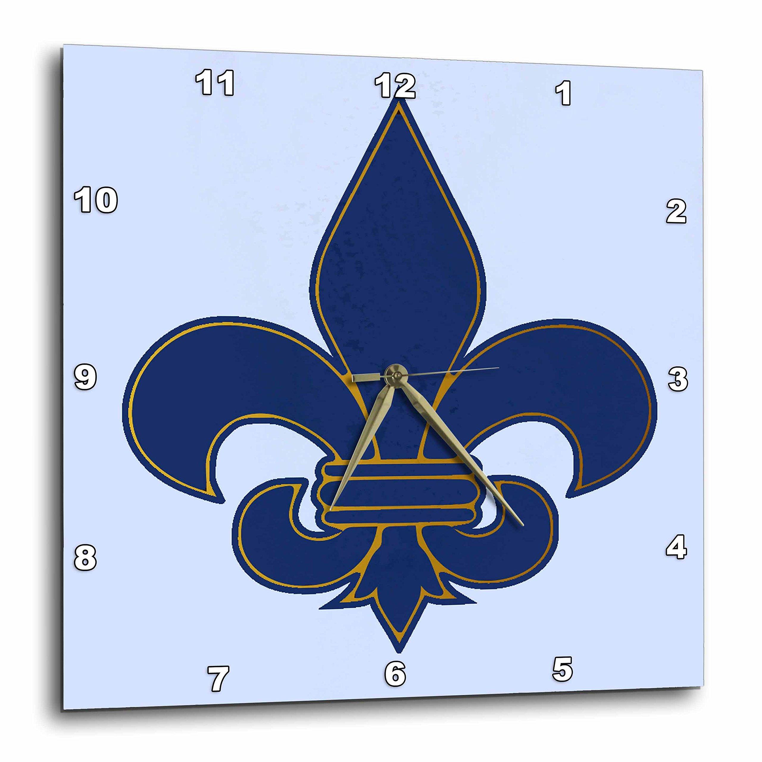 3dRose dpp_22361_1 Large Navy Blue and Gold Fleur de lis Christian Saints Symbol Wall Clock, 10 by 10-Inch