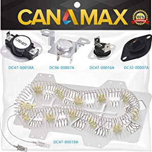 Samsung Dryer Heating Element DC47-00019A, DC96-00887A & DC47-00016A Thermal Fuse, DC47-00018A Thermostat and DC32-0000A Dryer Thermistor Dryer Repair Kit Premium Replacement by Canamax