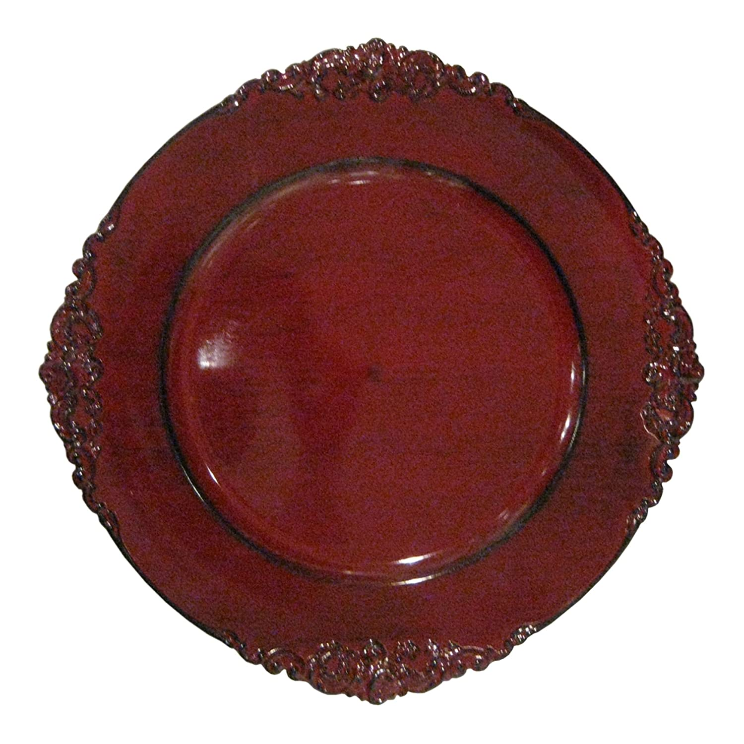 Christmas Tablescape Décor - Red royal embossed charger plate by ChargeIt by Jay