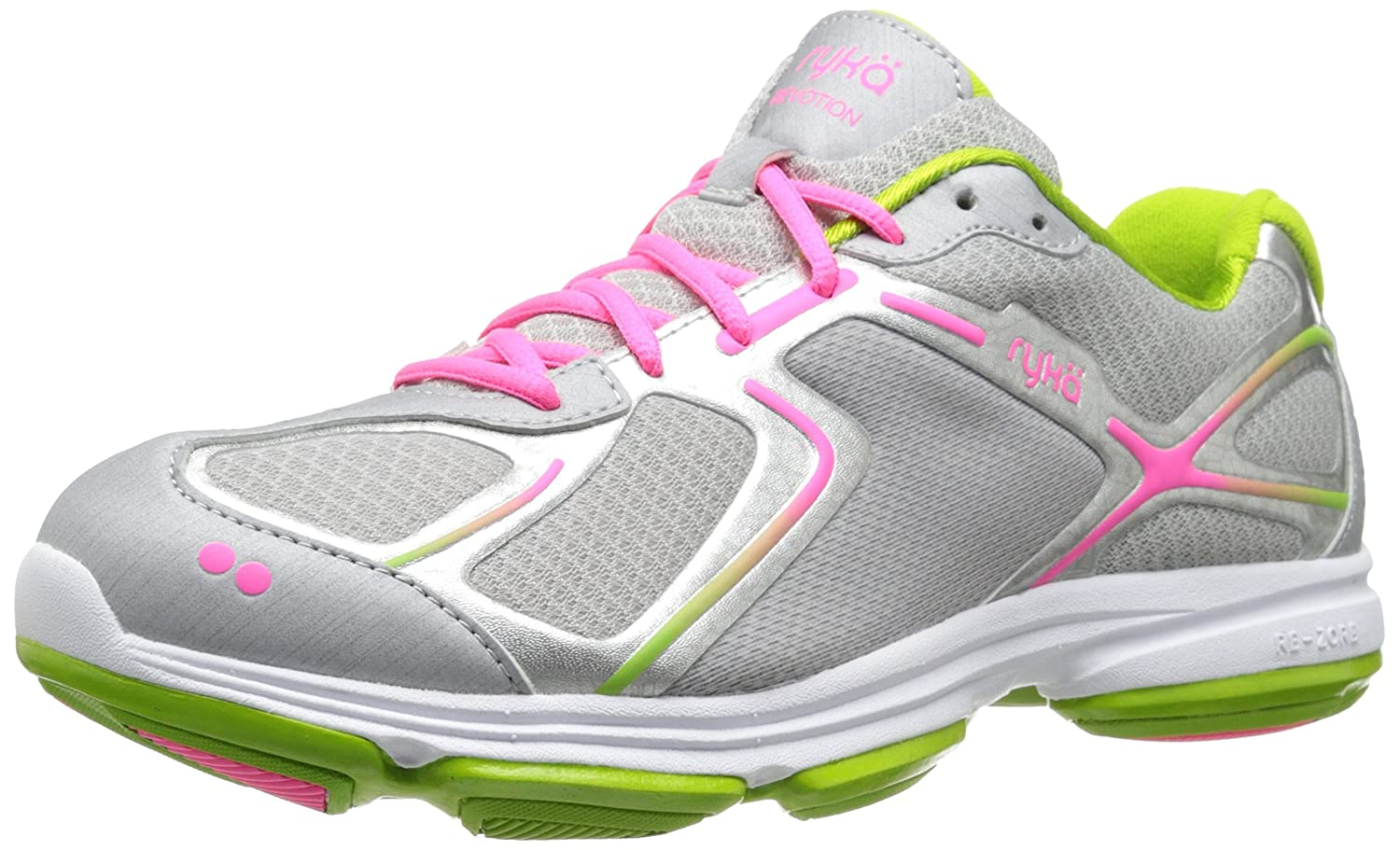 Ryka Women's Devotion Walking Shoe B00I9TUYDW 7.5 W US|Chrome Silver/Lime Blaze/Atomic Pink
