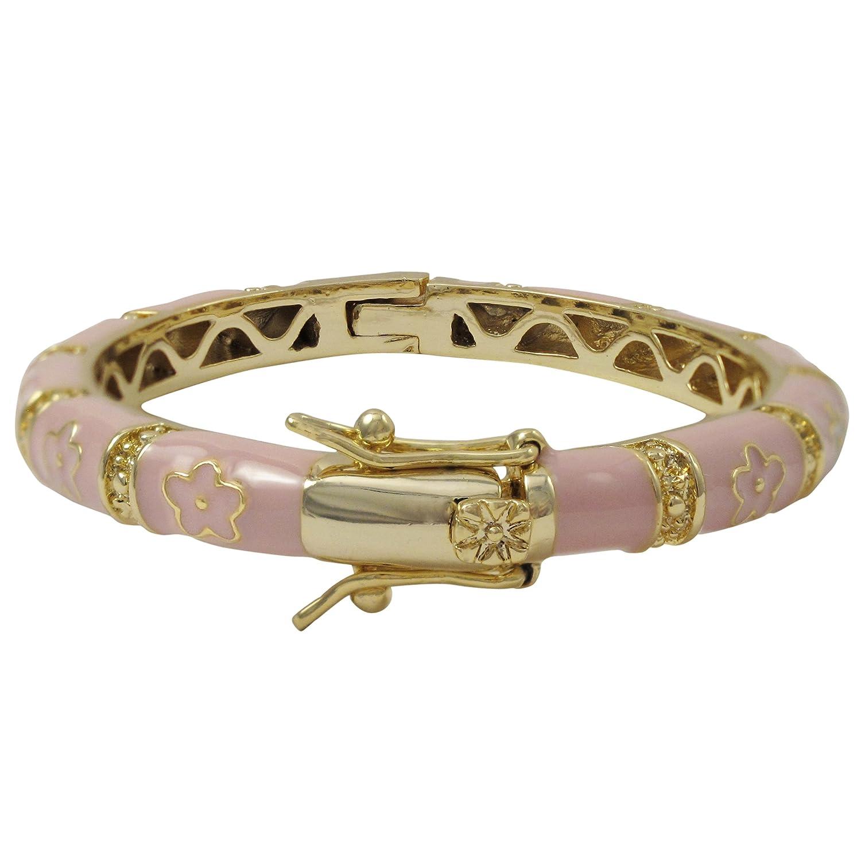 Ivy and Max Gold Finish Light Pink Enamel Flowers Girls Bangle Bracelet