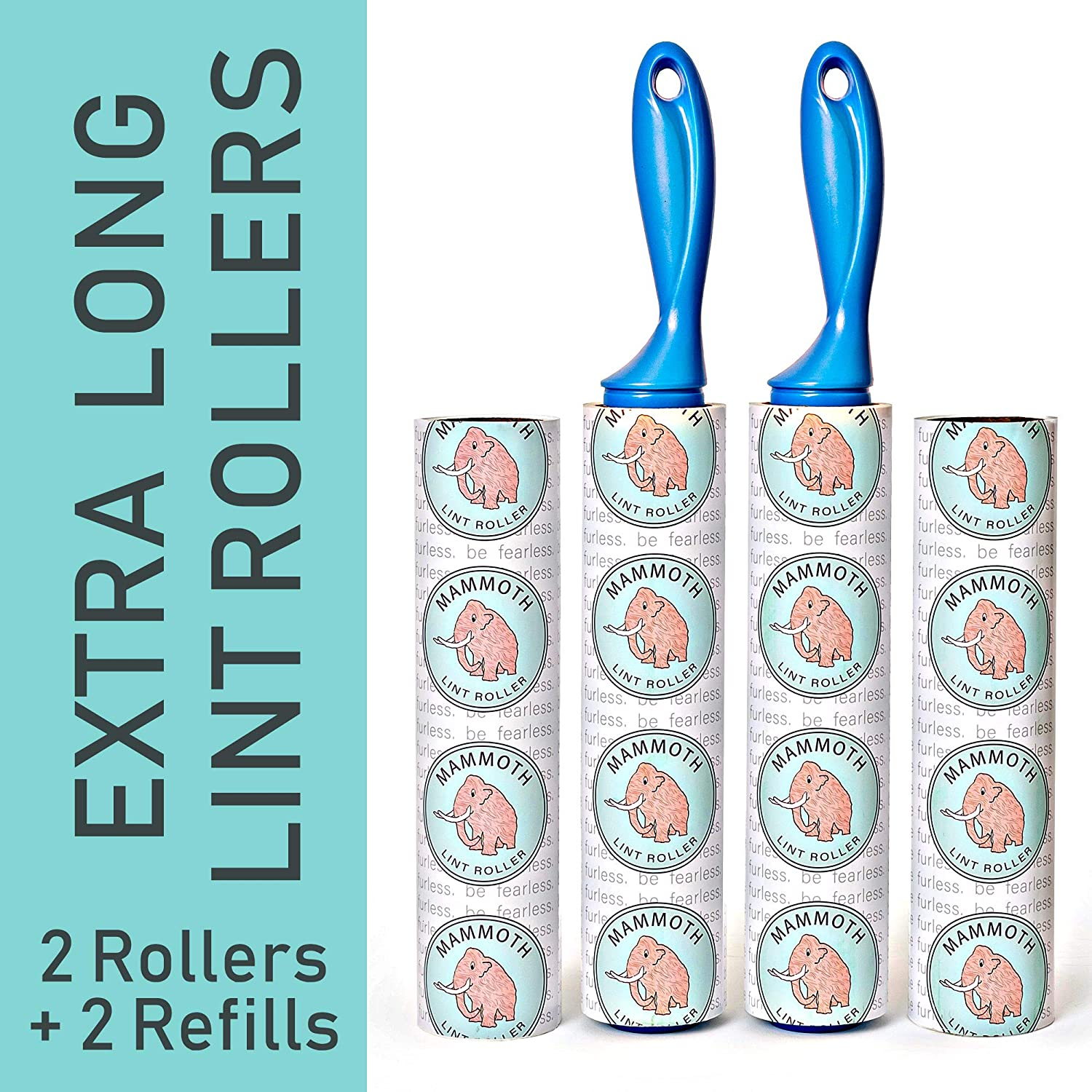 Mammoth Lint Roller-Extra Large Lint Roller, 2 Rollers and 2 Refills, 90 Sheets per Roll, Perfect for Pets (360 Extra Long Sheets Total)