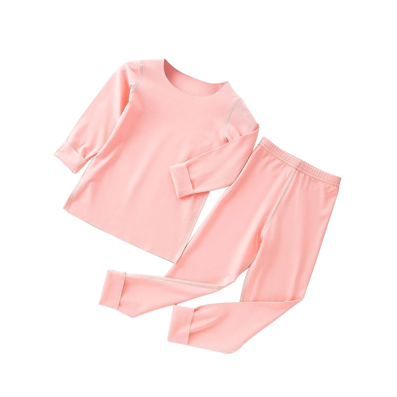 Westkun Unisex Kinder Thermo Unterwäsche 2PC Set Light Fleece Gefüttert Base Layer für Mädchen und Jungen Warme Wäsche (Hemd + Hose) Set