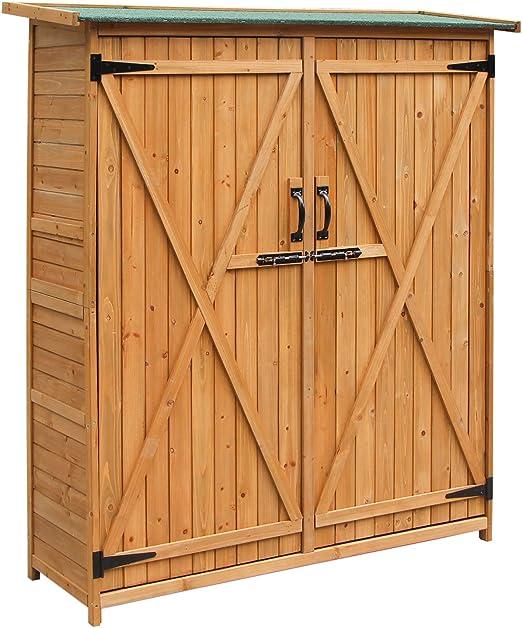 merax unidad de almacenamiento Cobertizo de Jardín Cobertizo de almacenaje madera de cedro, tamaño mediano, con cierre exterior con puertas de doble de madera, color natural: Amazon.es: Jardín