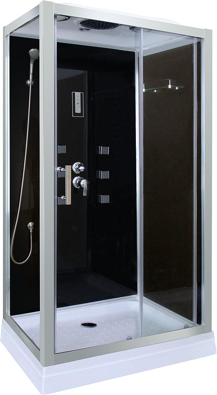 Cabina de ducha en negro DP-1401 (100 x 70 x 210 cm)