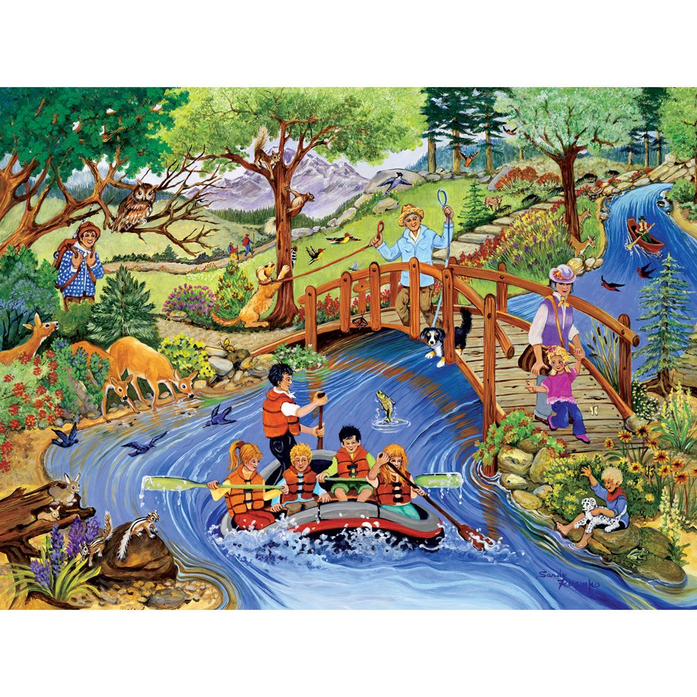 Bits and Pieces - 500 Piece Jigsaw Puzzle for Adults - Rafting Adventure - 500 pc Summer on the River Jigsaw by Artist Sandy Rusinko
