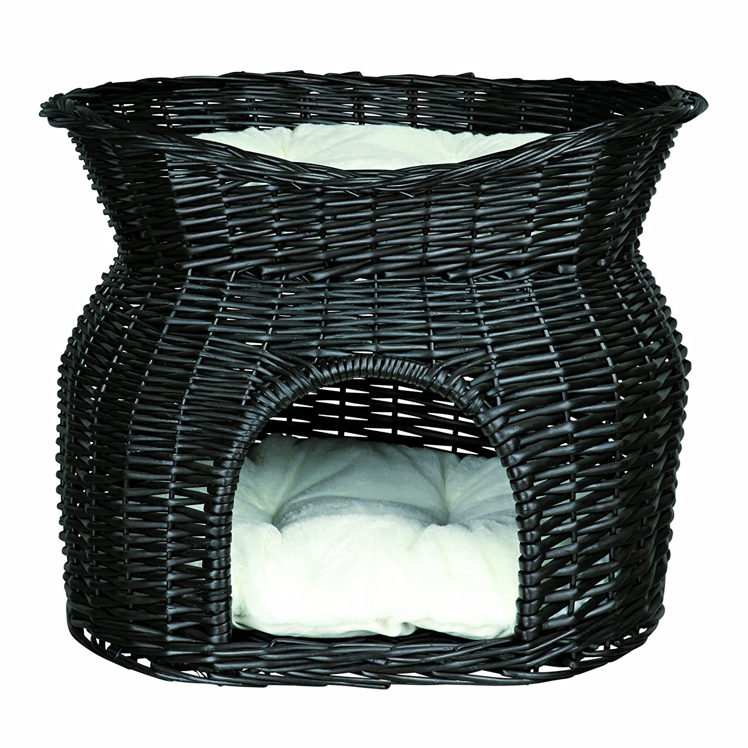 Black Wicker Cave with Bed  - 54 × 43 × 37 cm