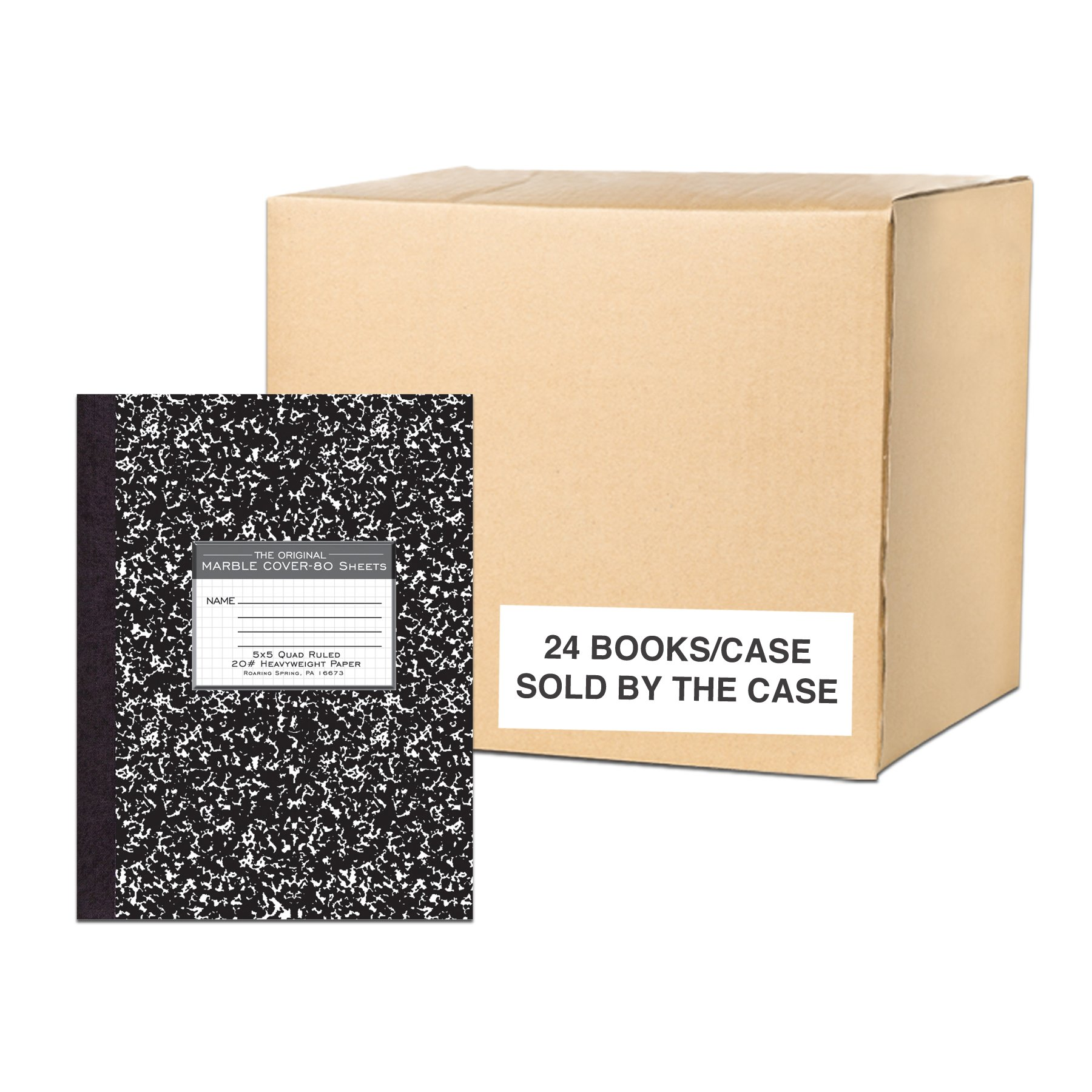 Case of 24 Premium Composition Books, 5x5 Graph Ruled, 80 sheets/Heavy Weight 20# Smooth White Paper, Oversized 10.25 x8'', Black Marble Cover