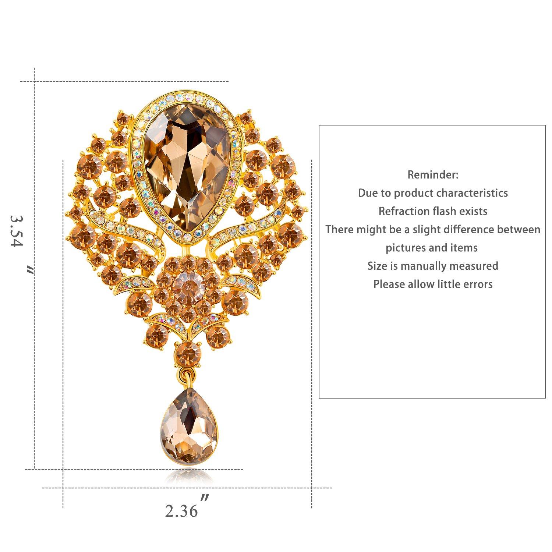Elehere Crystal Brooch Pin - Large Wedding Dangling Rhinestone Brooch Bouquet DIY, Ceremony Decoration (Champagne Gold)