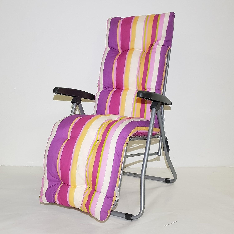 TECNOWEB Ricambio cuscino per sdraio con poggiapiedi super imbottita col.multiriga rosa TECNO CUCI