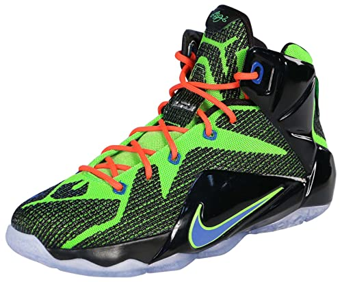 fb526a186f8 Nike Lebron 12 Gs Youth Basket Ball - Black Electric Green-hyper Cobalt- ...