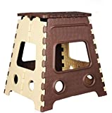 GOCART WITH G LOGO 18 Inches Super Strong Folding Step Stool for Adults and Kids, Kitchen Stepping Stools, Garden Step Stool Kitchen Stool (Brown) (Set of 1 PCS)