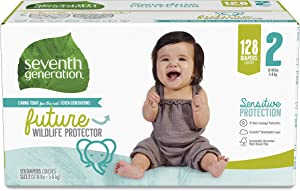 Seventh Generation Baby Diapers, Sensitive Protection, Size 2, 128 Count
