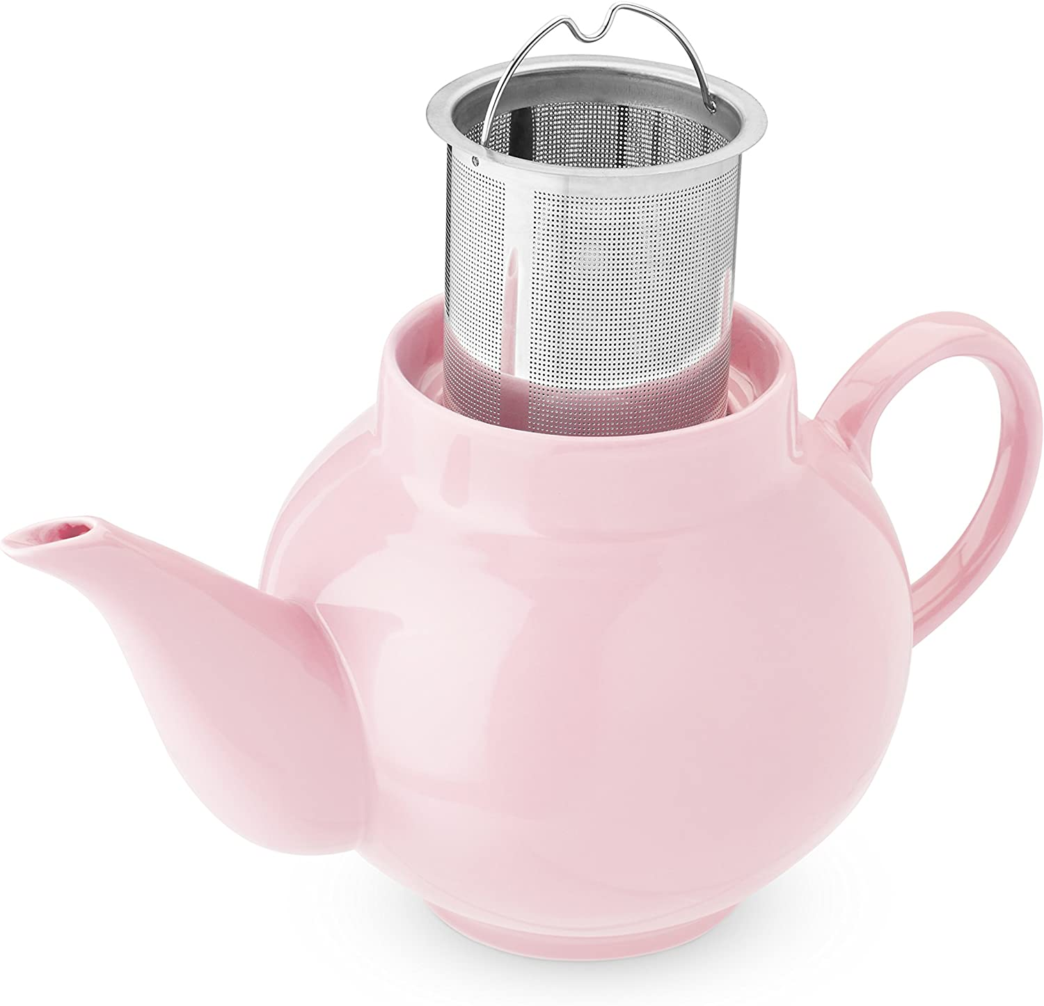 Pinky Up Regan Light Pink Ceramic Teapot & Infuser, One Size, Multi Colored