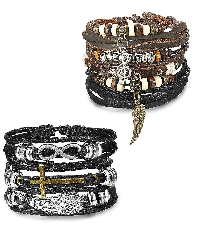 Sailimue 6 Pcs Bracciale in pelle da uomo per uomo e donna Bracciali regolabili con braccialetti a catena intrecciati unisex DDE-2T20-2PCSK