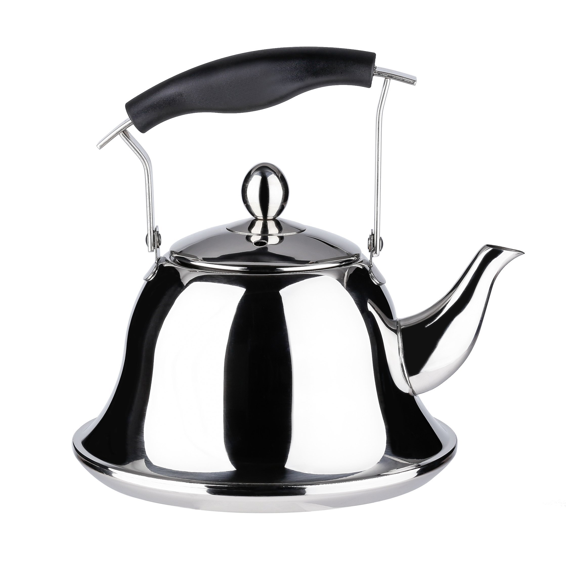 Onlycooker Whistling Tea Kettle Stainless Steel 3 Liter Stovetop Teakettle Sturdy Teapot for Tea Coffee Fast Boiling Water Silver Mirror Finish 3.2 Quart