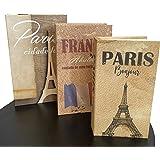 Conjunto 3 Caixas Porta Objetos/Livro Decorativo (Paris)