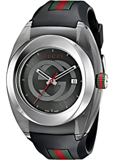 7d06c681888 Gucci SYNC XXL Stainless Steel Watch with Black Rubber  Bracelet(Model YA137101)