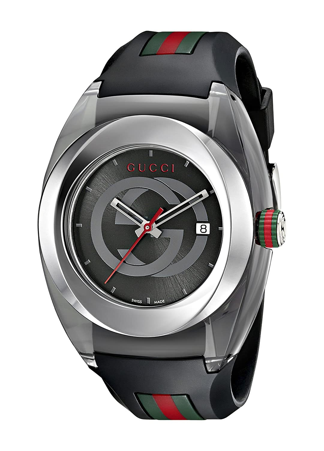 1d8d1615451 Amazon.com  Gucci SYNC XXL Stainless Steel Watch with Black Rubber  Bracelet(Model YA137101)  Watches