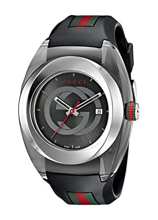 561abd09ae4 Amazon.com  Gucci SYNC XXL Stainless Steel Watch with Black Rubber Bracelet(Model YA137101)   Watches