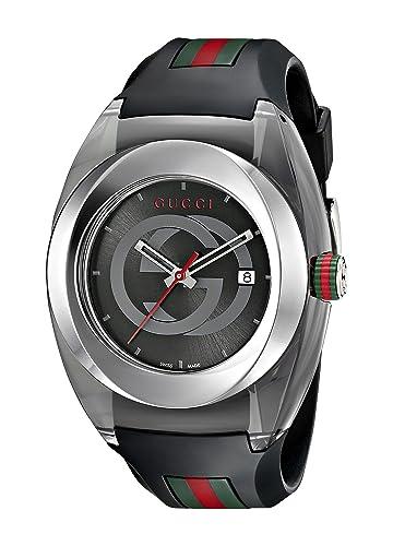 Gucci SYNC XXL Stainless Steel Watch with Black Rubber Bracelet Model YA137101
