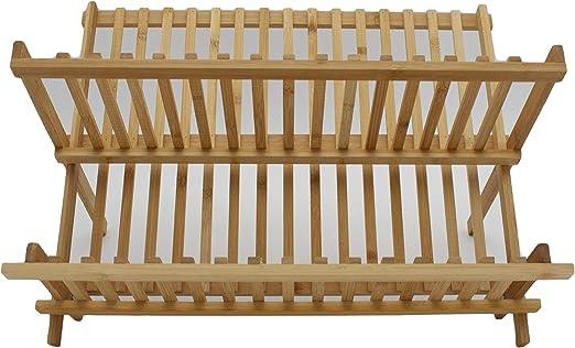 Escurridor de Platos con 2 Niveles de bamb/ú Plegables 42X27X33 CM LEYENDAS ESCURREPLATOS