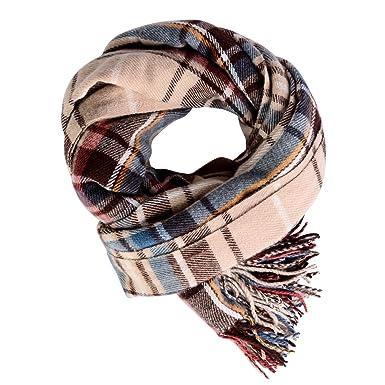 Écharpe de Couverture à Carreaux Pour les Femmes, Longues Longues écharpes  Tartan Chaud écharpe Châle (Beige, 70