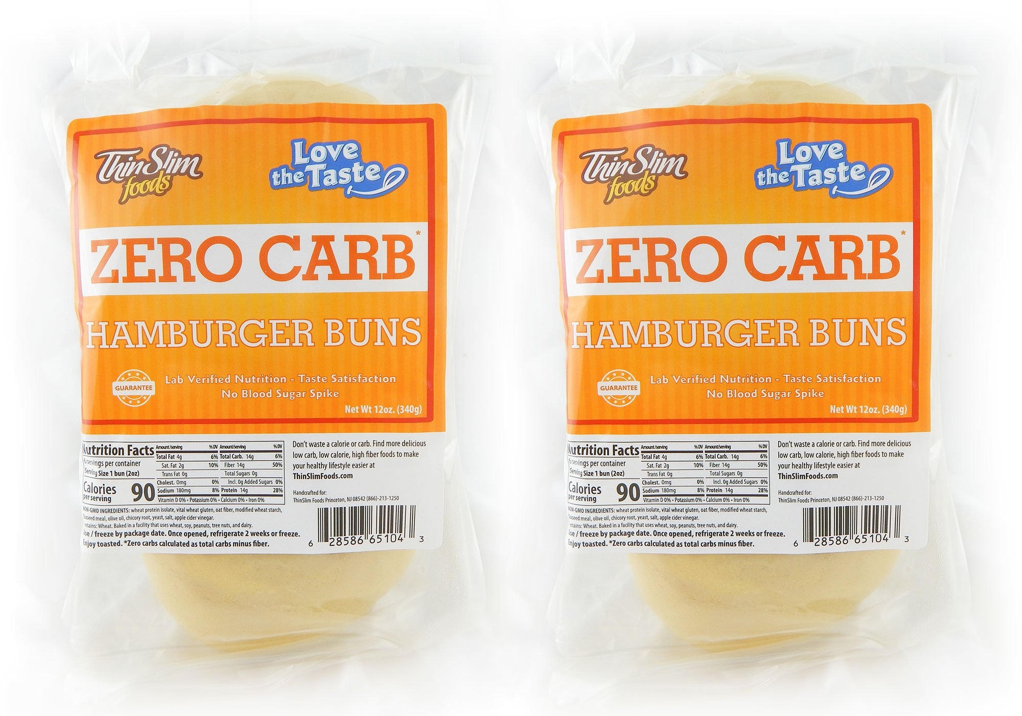 ThinSlim Foods 90 Calorie, 0g Net Carb, Love The Taste Low Carb Hamburger Buns, 2pack