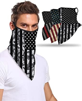 6 Pieces Face Bandana Ear Loops Face Cover Scarf Ear Loops Face Balaclava Breathable Windproof Neck Gaiters Headwear Bandana for Dust Wind Motorcycle