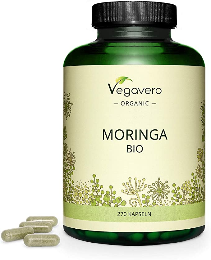 BIO Moringa Oleifera Vegavero® | La Dosis Más Alta: 1800 mg | 270 Cápsulas | Superfood: Proteínas, Vitaminas, Minerales y Omega 3 | Antioxidante | ...