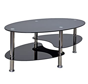 affordable tsideen table duappoint noir table basse ovale en acier inoxydable avec verre with. Black Bedroom Furniture Sets. Home Design Ideas