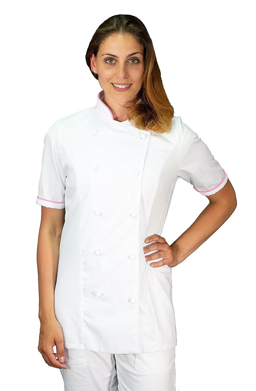 Casacca Chef Bianca e Nero Gessato tessile astorino Ricamo Gratuito Giacca Cuoco da Cucina Made in Italy