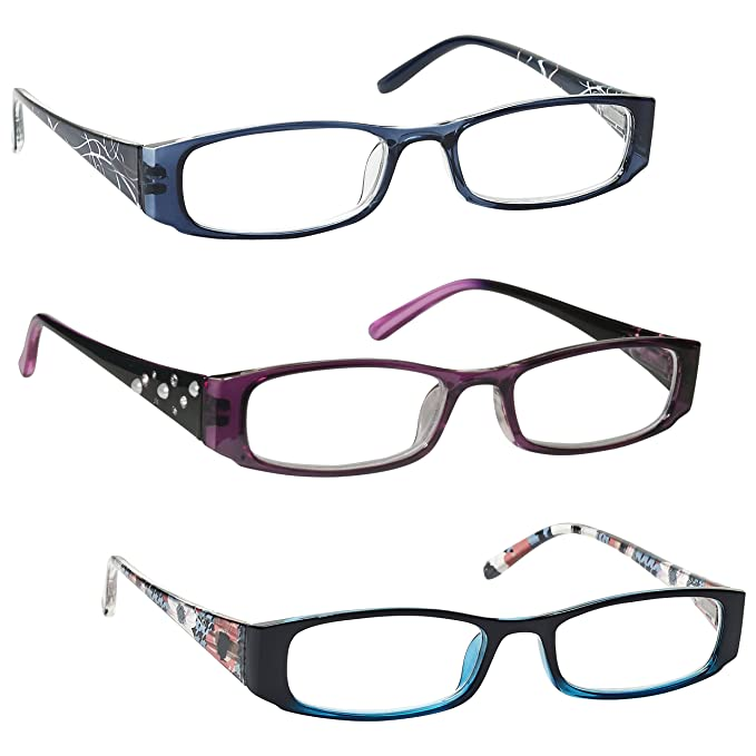 fe89b47f37 The Reading Glasses Company Blue Purple Turquoise Floral Lightweight Readers  Value 3 Pack Womens Ladies RRR74-35W +2.00  Amazon.co.uk  Health   Personal  ...
