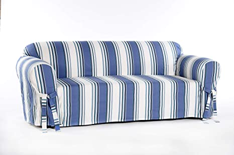 Miraculous Classic Slipcovers Printed Classic Stripe Canvas Loveseat Slipcover Blue Theyellowbook Wood Chair Design Ideas Theyellowbookinfo