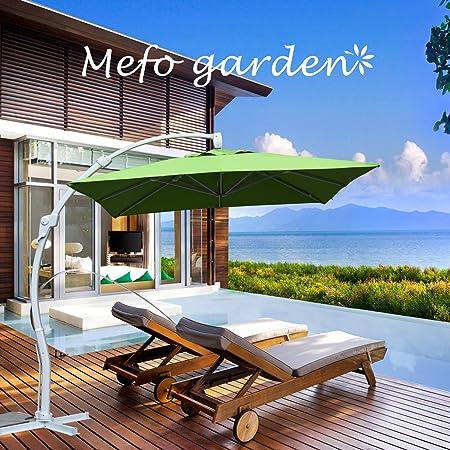 MEFO jardín Deluxe Offset Curva para Colgar Patio Paraguas al Aire Libre Paraguas voladizo con Sistema de inclinación y manivela: Amazon.es: Jardín