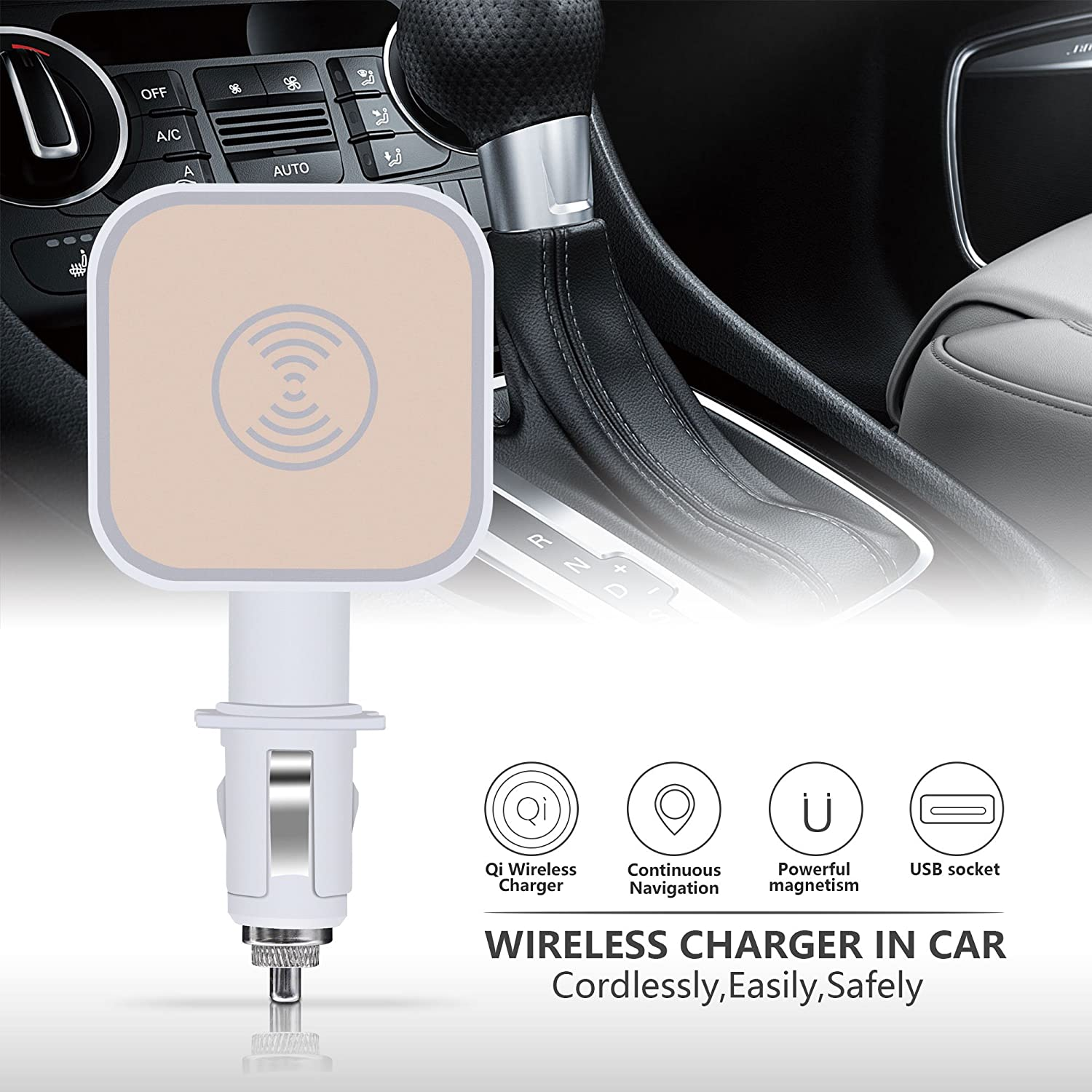 VIEE 2-in-1 QI Magnetic Wireless Charging Mount with Free Wireless Receiver Case Cover for iPhone 6//6s//7//8 Apple iPhone Wireless Car Charger Kit