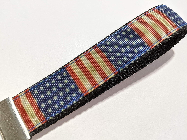 Patriotic Rustic American Flag Handmade Wristlet Keychain