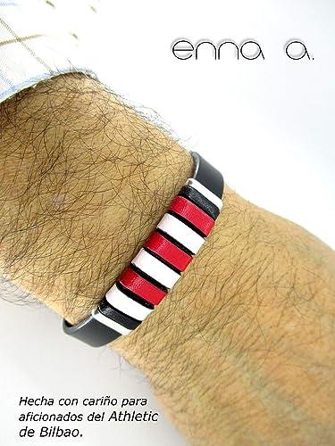 Amazon.com: Athletic Bilbao bracelet, black leather bracelet ...