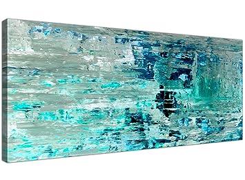 Turquoise Bleu Sarcelle Abstraite Peinture Murale Art Impression Sur Toile    Moderne 120 Cm De Large