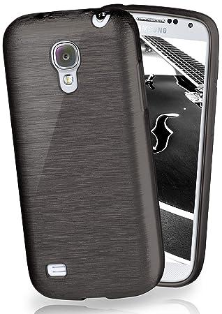 moex® Funda de Silicona con Aspecto Aluminio Cepillado Compatible con Samsung Galaxy S4 Mini en Noir
