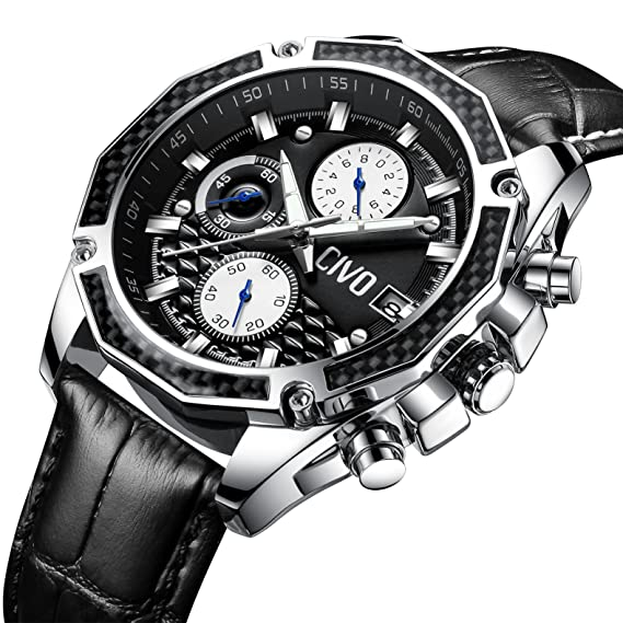 CIVO Relojes para Hombres Negro Cronógrafo Multifuncional Fecha Calendario Impermeable Término análogo Reloj de Cuarzo con