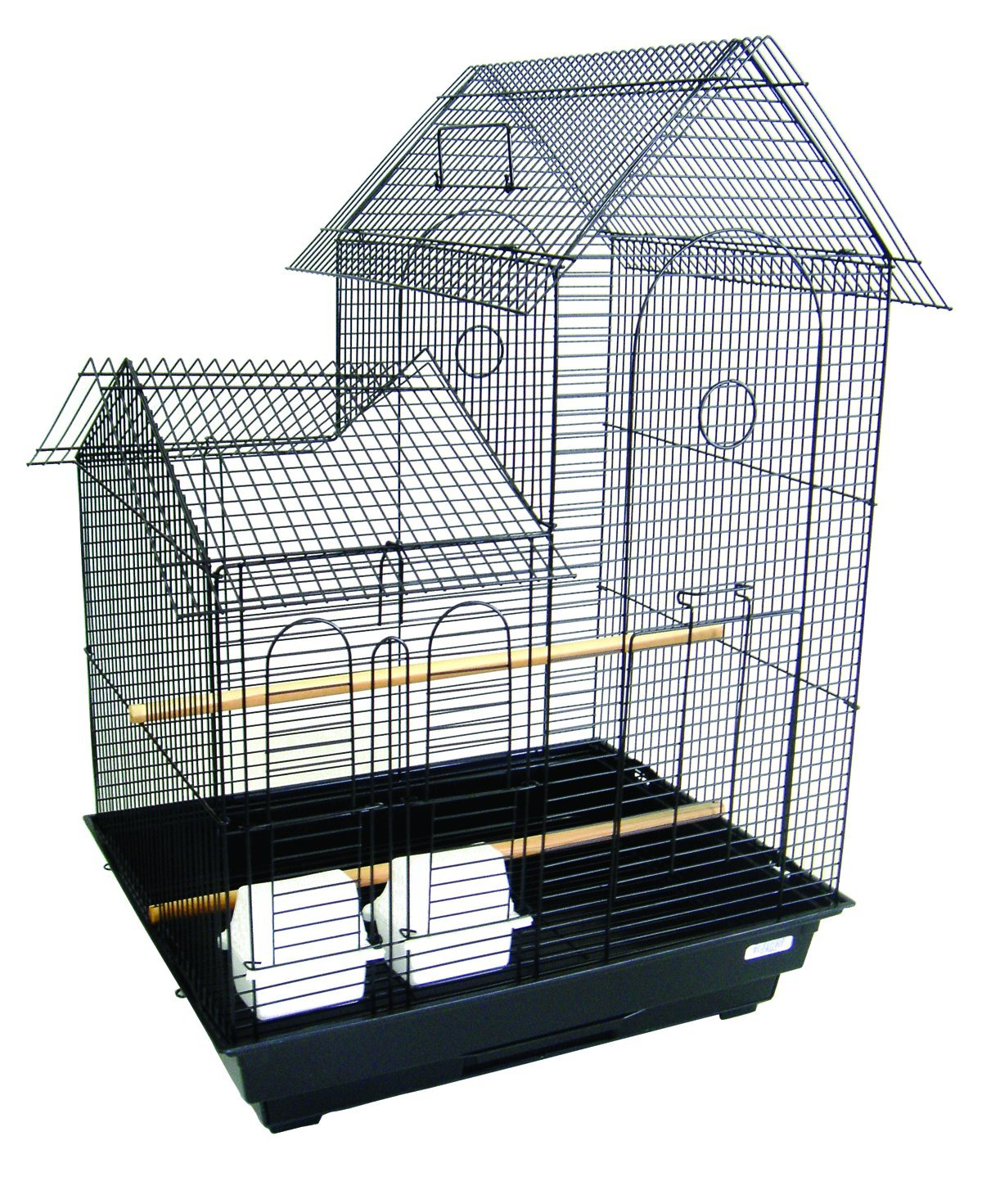 YML A1944 1/2-Inch Bar Spacing Villa Top Small Bird Cage, 20-Inch by 16-Inch, Black A1944BLK