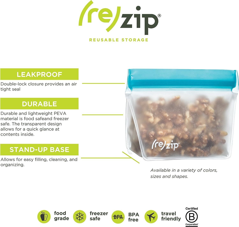 Aqua by rezip rezip 3-Piece Stand-Up Leakproof Reusable Storage Bag Kit 8//16//32-ounce