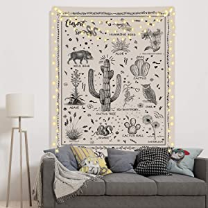 Desert Species Tapestry Animals Plants Reference Chart Tapestry Cactus Flowers Tapestry for Room(59.1 x 82.7 inches)