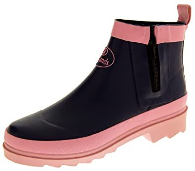 470cd5a8791 Womens Wetlands Zip Short Ankle Wellies Ladies Festival Gardening Wellington  Shoe Boots Pink Size 3