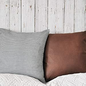 PANDICORN Set of 2 Farmhouse Pillow Covers 18x18 for Home Décor, Rustic Brown Faux Leather, Black and White Stripe Throw Pillow Case for Couch Sofa