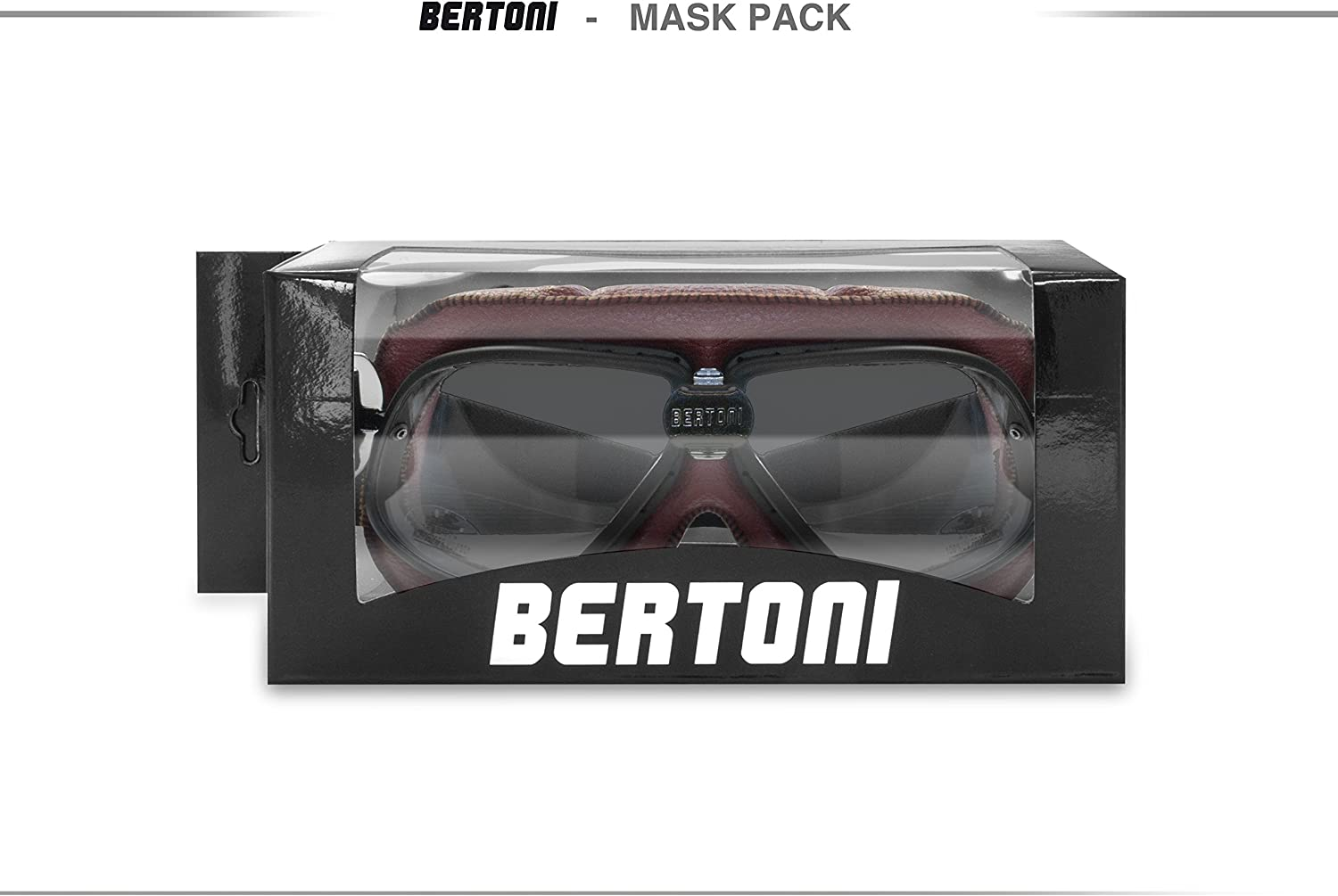 Bertoni Motorcycle Vintage Aviator Goggles in Red Leather w Mat Black Frame w Black Strap AF196R RED by Bertoni Italy Motorbike Riding Glasses