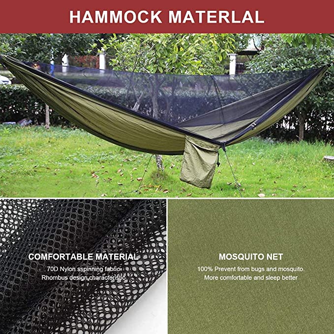 DaMohony Hamaca port/átil plegable plegable plegable hamaca doble con mosquitera para exterior interior senderismo camping mochilero supervivencia viajes