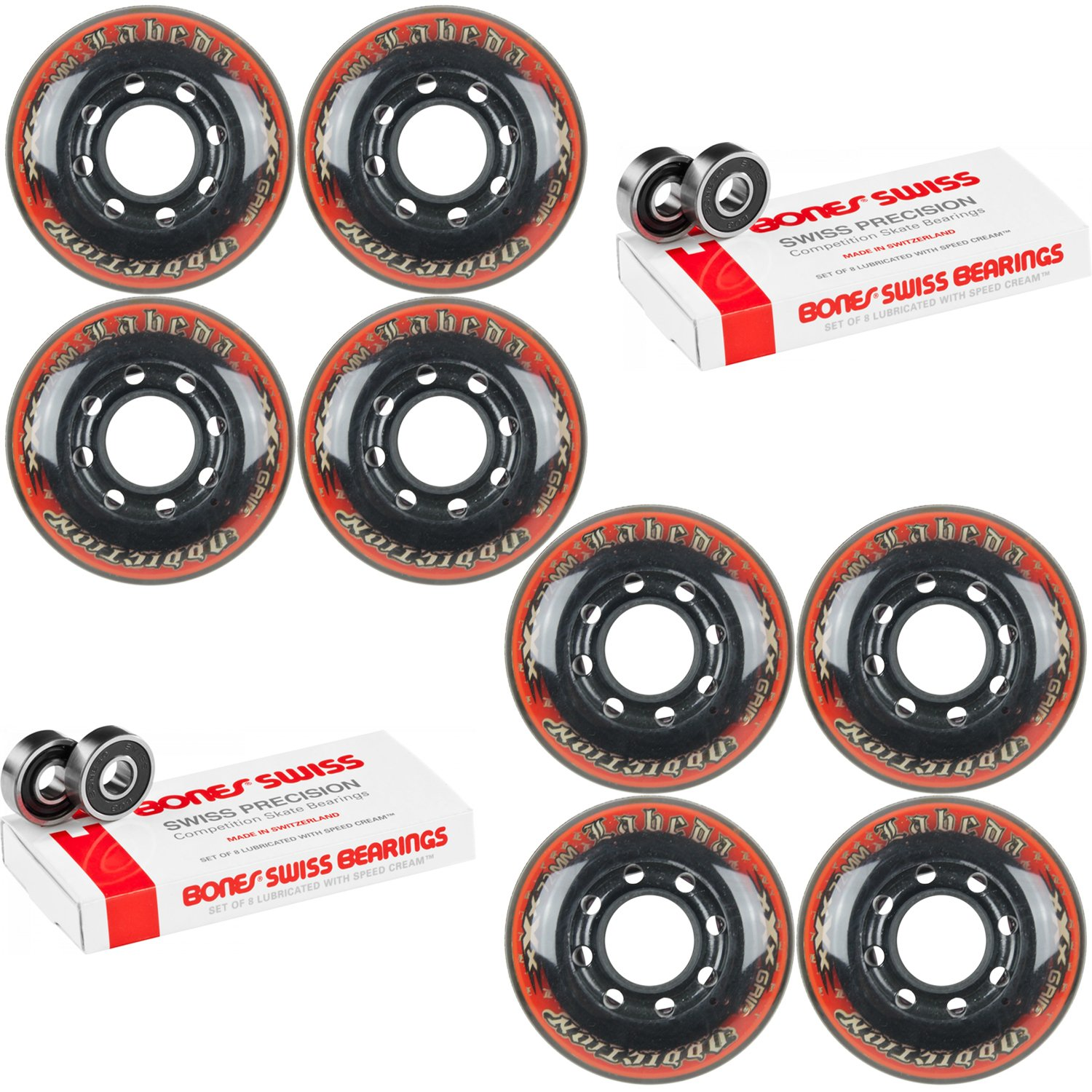 Labeda Addiction Wheels Addiction XXX Grip 72mm Roller Hockey 8-Pack Bones Swiss by Labeda